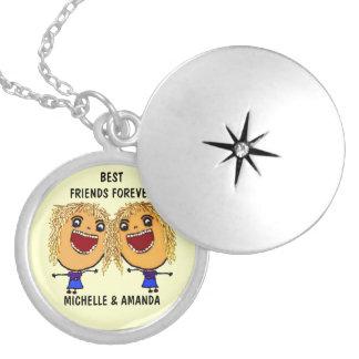Blonde Best Friends Forever Cartoon Pendant