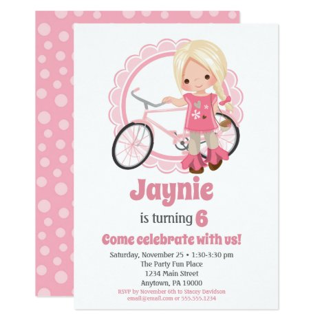 Blonde Bicycle Girl Birthday Invitation