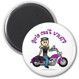 Blonde Biker 2 Inch Round Magnet