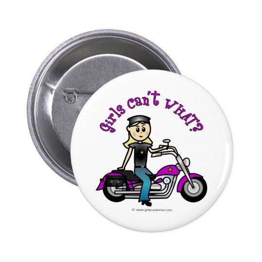 Blonde Biker Button