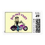 Blonde Biker Postage Stamp