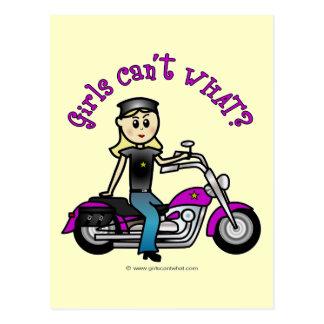 Blonde Biker Postcard