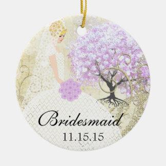Blonde Birdesmaid Gifts Lavender Heart Leaf Tree Ceramic Ornament