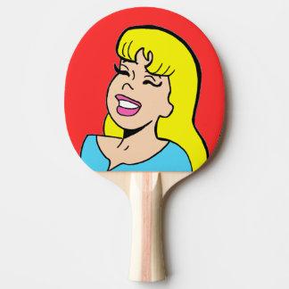 Blonde Bombshell Comic Strip Ping Pong Paddle