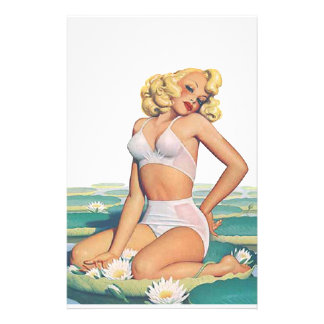 Blonde Bombshell Pin-Up Stationery