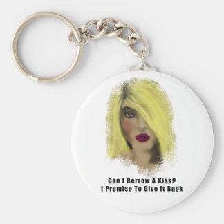 Blonde Bombshell Woman Borrow A Kiss Basic Round Button Keychain