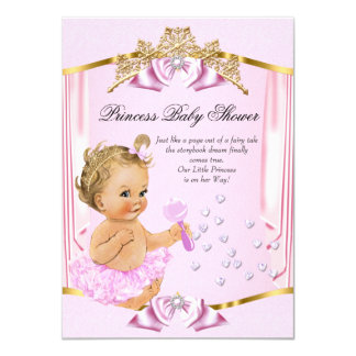 """Blonde bonito del oro del rosa de la princesa invitación 4.5"""" x 6.25"""""""