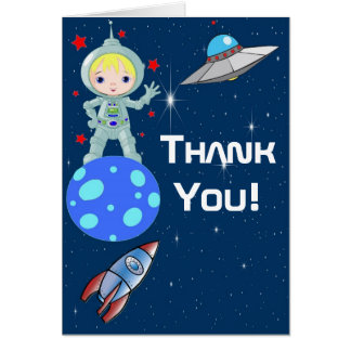 Blonde Boy Astronaut Thank You Note Card