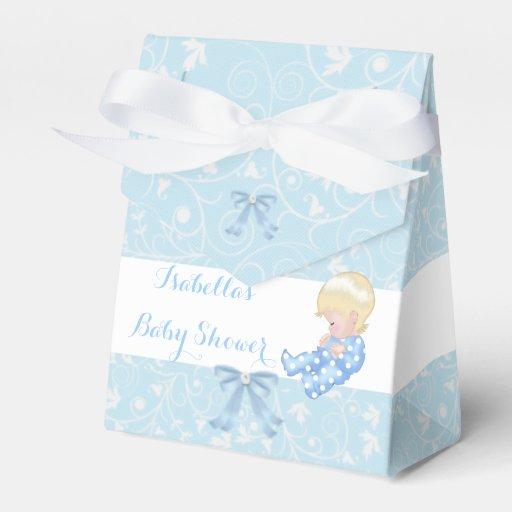 Blue Baby Shower Favor Boxes : Blonde boy baby shower blue cute favor box zazzle