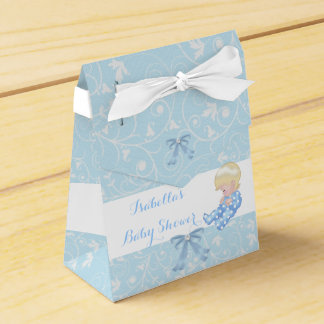 Blonde Boy Baby Shower Blue Cute Baby Favor Party Favor Box