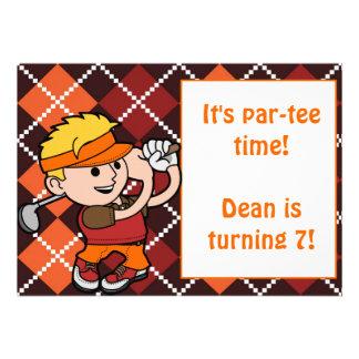 Blonde Boy Golf Birthday Party Invitation