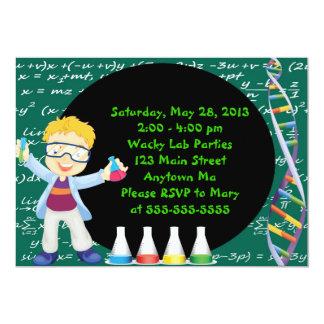 "Blonde Boy Mad Scientist Birthday Party Invitation 5"" X 7"" Invitation Card"