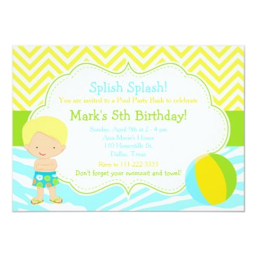 Beach Themed Blonde Boy Pool Party Bash Party Card