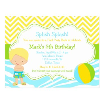 Beach Themed Blonde Boy Pool Party Bash Party Postcard