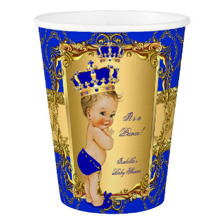Blonde Boy Royal Blue Prince Crown Baby Shower Paper Cup