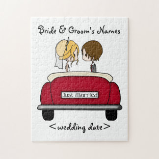 Blonde Bride and Brunette Groom in Red Wedding Car Jigsaw Puzzle
