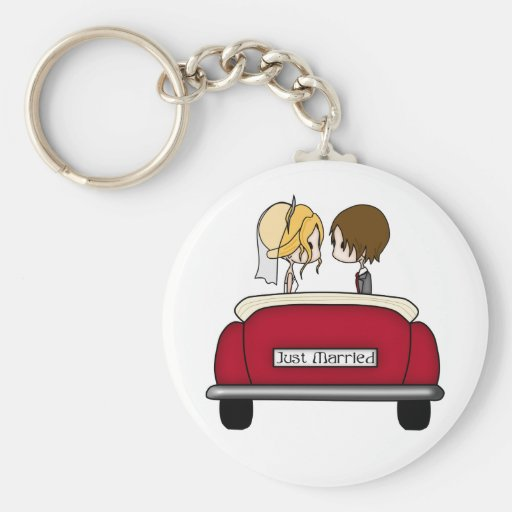 Blonde Bride and Brunette Groom in Red Wedding Car Key Chain