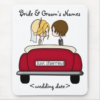 Blonde Bride and Brunette Groom in Red Wedding Car Mouse Pad