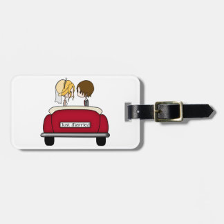 Blonde Bride and Brunette Groom in Red Wedding Car Tag For Luggage