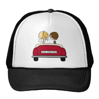 Blonde Bride and Brunette Groom in Red Wedding Car Trucker Hat