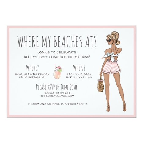 Blonde Bride Bachelorette Beach Party Weekend Invitation