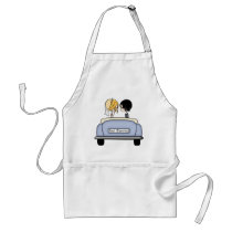 Blonde Bride & Black Haired Groom in Blue Car Adult Apron