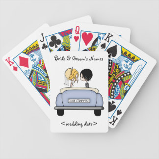 Blonde Bride & Black Haired Groom in Blue Car Bicycle Playing Cards