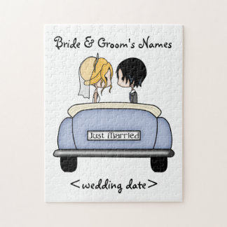 Blonde Bride & Black Haired Groom in Blue Car Jigsaw Puzzle