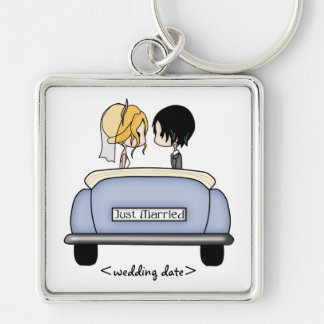 Blonde Bride & Black Haired Groom in Blue Car Key Chains