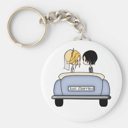 Blonde Bride & Black Haired Groom in Blue Car Keychains