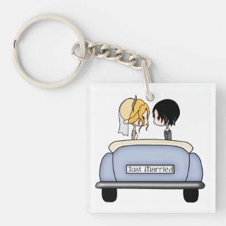 Blonde Bride & Black Haired Groom in Blue Car Square Acrylic Key Chain