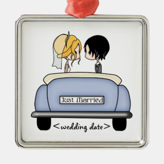 Blonde Bride & Black Haired Groom in Blue Car Square Metal Christmas Ornament