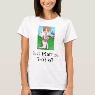 Blonde Bride & Bling - Just Married t-shirt
