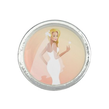 Bride Themed Blonde bride in white wedding dress photo rings