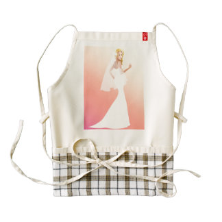 Blonde bride in white wedding dress zazzle HEART apron