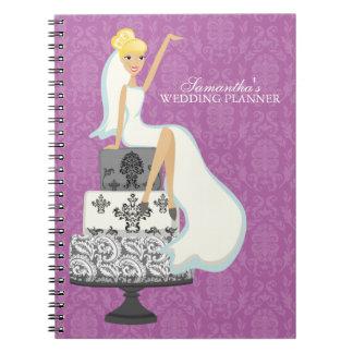 Blonde Bride on Wedding Cake {orchid} Notebook