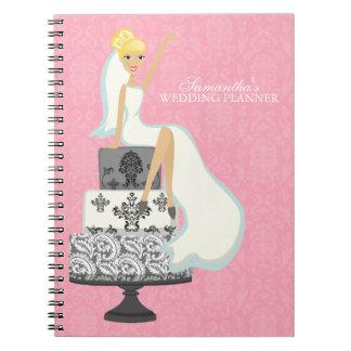 Blonde Bride on Wedding Cake {pink} Spiral Notebook