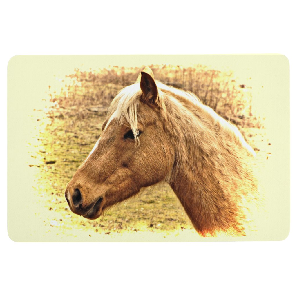 Blonde Brown Horse in Yellow Sun Floor Mat
