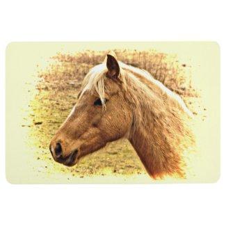 Blonde Brown Horse in Yellow Sun Floor Mat