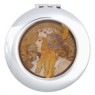 Blonde by Alphonse Mucha Compact Mirror