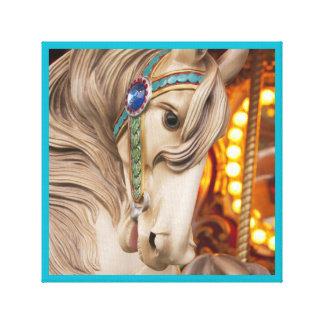 blonde carousel horse a beautiful face canvas print