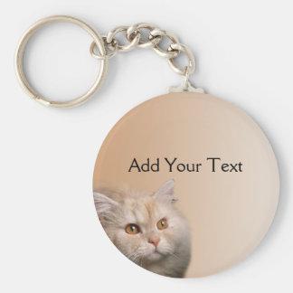 Blonde Cat with Topaz Eyes on Cinnamon Border Keychains