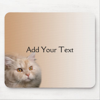 Blonde Cat with Topaz Eyes on Cinnamon Mousepad