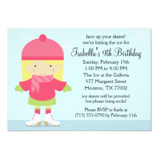 Blonde Caucasion Ice Skating Birthday Party Card