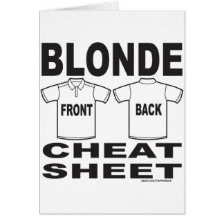 BLONDE CHEAT SHEET CARD