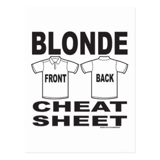 BLONDE CHEAT SHEET POSTCARD