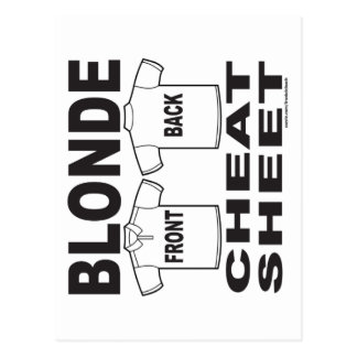 BLONDE CHEAT SHEET T-SHIRTS AND GIFTS POSTCARD