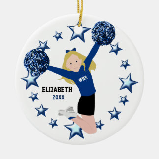 Blonde Cheerleader Pom Poms in Blue & Black Ceramic Ornament