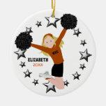 Blonde Cheerleader Pom Poms in Orange & Black Ceramic Ornament