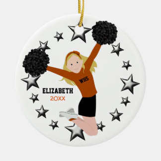 Blonde Cheerleader Pom Poms in Orange & Black Ceramic Ornament